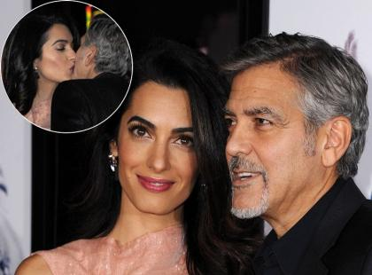 Clooneyowie nie szczędzili sobie czułości na imprezie