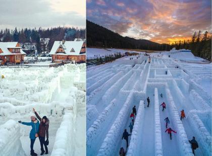 Coś pięknego! Ten największy na świecie śnieżny labirynt przyciąga turystów i... mieści sięw Polsce! Powstał też bajkowy zamek!