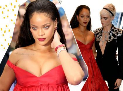 Coś poszło nie tak... Rihanna pojawiła się na premierze w olbrzymiej sukni. Biust nie mieścił się w kreacji