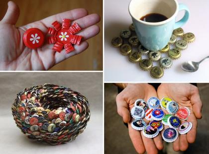 Designerskie dekoracje z kapsli i nakrętek