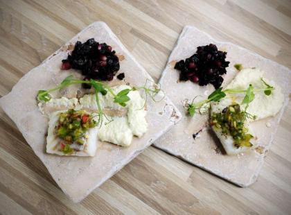 Dorsz z pieca na puree z selera i topinamburu - przepis