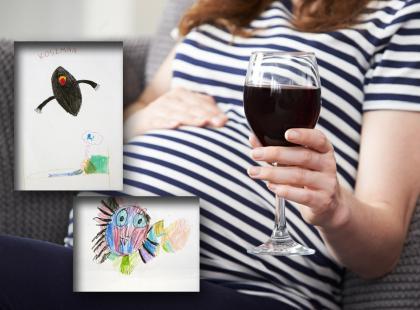 Dziecięce rysunki w sklepach przypomną o tym, do czego prowadzi picie alkoholu w ciąży