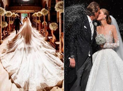 Dziedziczka fortuny Swarovski wyszła za mąż! Jej suknia wysadzana kryształami to marzenie za... prawie 3,5 mln i o wadze blisko 50 kilogramów