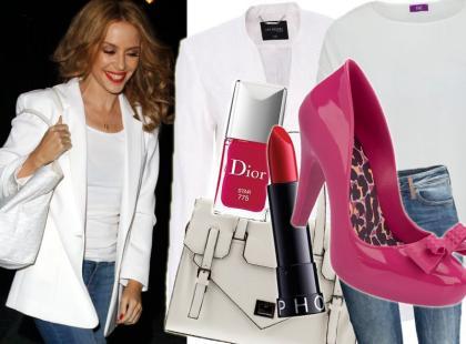 Dżins i biel, czyli modny look w wersji Kylie Minogue