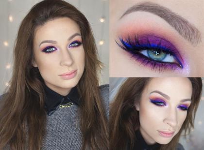 Fioletowy makijaż na wiosnę krok po kroku [video]