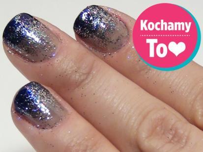 Granatowe paznokcie ombre z brokatem na Sylwestra [video]