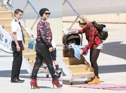 Gwen Stefani z rodziną w drodze do prywatnego samolotu