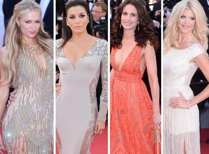 Hilton, Longoria, McDowell i Silvstedt na czerwonym dywanie w Cannes