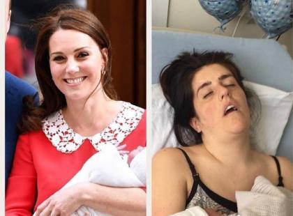 """""""Ja kontra księżna"""" – matki wyśmiewają perfekcyjny wygląd księżnej Kate i pokazują, jak naprawdę wygląda się po porodzie"""