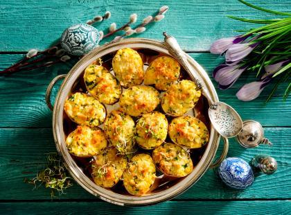 Jajka faszerowane serem żółtym