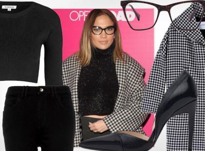 Jennifer Lopez w boskim looku z pepitką