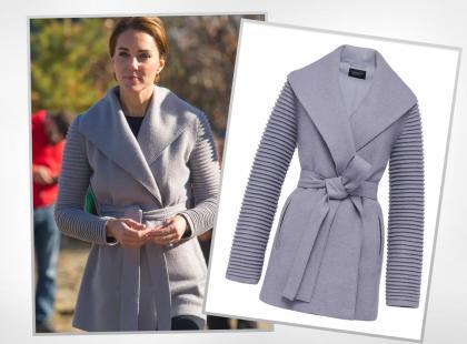 Jesienią księżna Kate stawia na szary płaszcz z wiązaniem