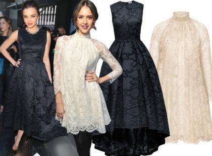 Jessica Alba i Miranda Kerr w wieczorowych sukienkach z sieciówki