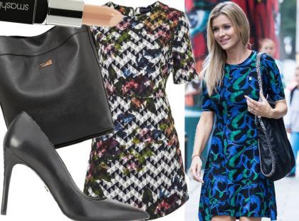 Joanna Krupa w prostej wzorzystej sukience