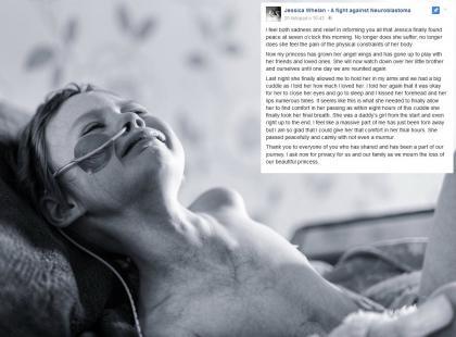 """""""Już nie cierpi, nie czuje bólu"""". Umarła 4-letnia Jessika, której walkę z rakiem jej tata pokazywał w sieci"""