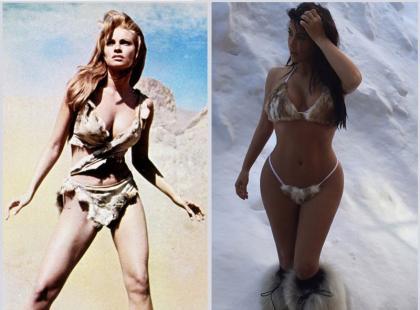 Kardashian skopiowała pomysł sesji w futrzanym bikini?
