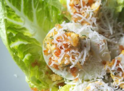 Kasia gotuje z Polki.pl - Jajka faszerowane a'la sałatka Cezar