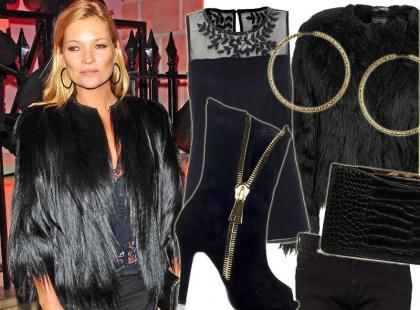 Kate Moss w doskonałej stylizacji na jesienną imprezę