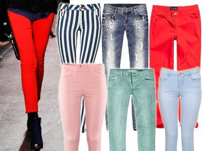 Kolorowe dżinsy hitem sezonu wiosennego