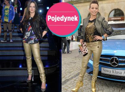 Która lepiej wygląda w złotych spodniach?