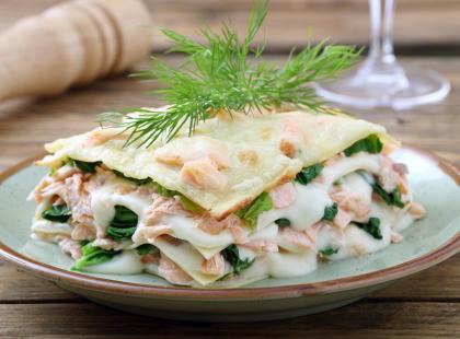 Lasagne z łososiem na zimno