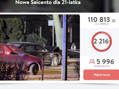 Miało wystarczyć na jedno Seicento, a nazbierano już na 22! Polacy hojnie wspierają 21-latka, który zderzył się z kolumną rządową