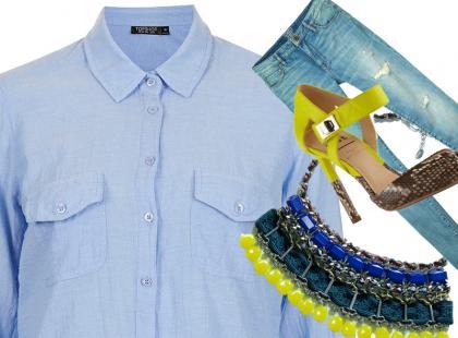 Niebieska koszula poza biurem