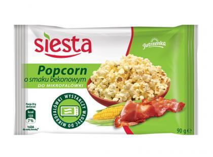Nowy Popcorn do mikrofalówki o smaku bekonowym Siesta