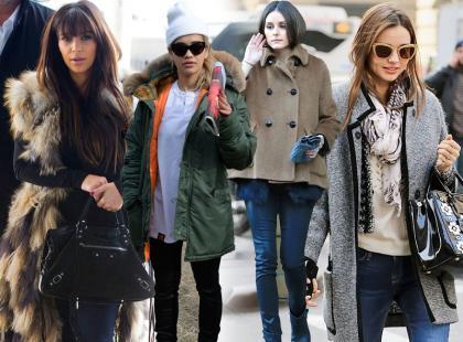 One też marzną: gwiazdy w zimowych kurtkach i płaszczach