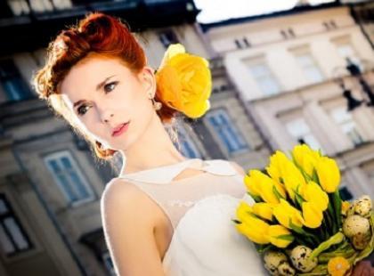 Panna młoda i dekoracje ślubne na Wielkanoc