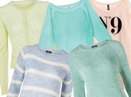 Pastelowe sweterki za mniej niż 80 zł