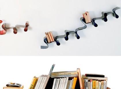 Półki na książki jak serpentyny