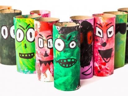 Potwory z rolek toaletowych – dziecięce dekoracje na Halloween