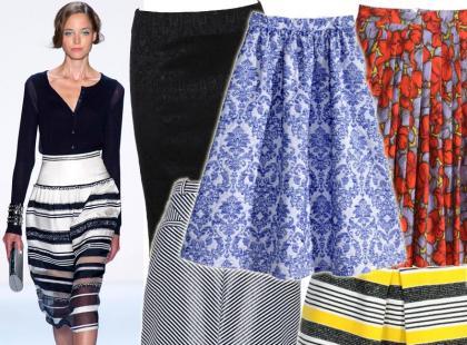 Przegląd modnych spódnic midi