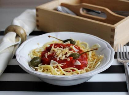 Przepis na bezglutenowe spaghetti z pieczarkami