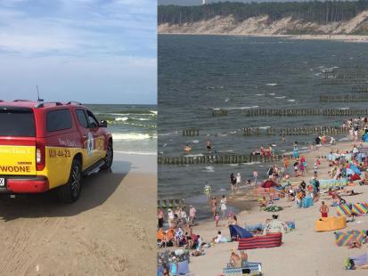 Ratownicy uratowali w Łebie tonącego ojca z córką. Mężczyzna z 8-latką chcieli wyłowić z wody dmuchaną zabawkę