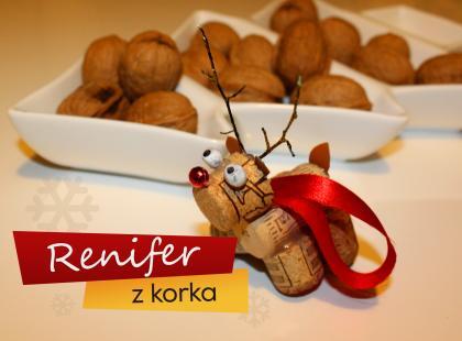 Renifer z korka - ozdoby świąteczne
