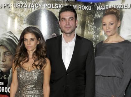Rosati, Dorociński i Bohosiewicz  na premierze filmu Obława