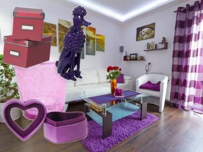 Salon w odcieniach purpury