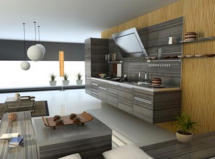 Salon z kuchnią jako wnętrze jednoprzestrzenne