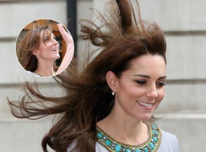 Silny wiatr spłatał księżnej Kate figla! Jej włosy żyły swoim życiem