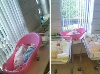 Skandal w białostockim szpitalu: noworodki śpią w wanienkach na parapecie!
