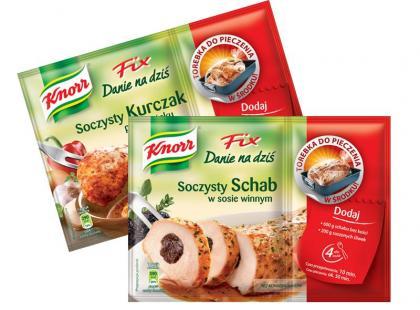 Soczysty Schab w sosie winnym i Soczysty Kurczak po cygańsku - nowe Fixy Knorr. Danie na dziś