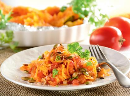 Spaghetti z dynią i z pomidorami - przepis