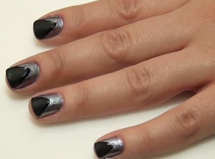 Srebrno-czarne paznokcie na imprezę!