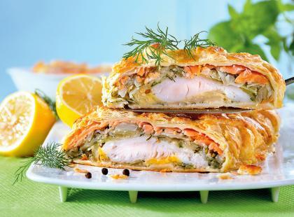 Świąteczny kulebiak z rybą