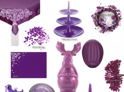 Świąteczny stół w fioletach