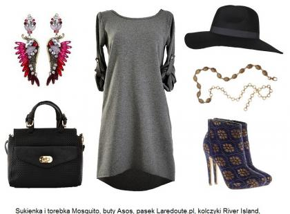 Szara sukienka - 3 stylizacje