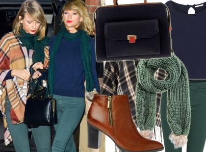 Taylor Swift modnie stylizuje granat z zielenią