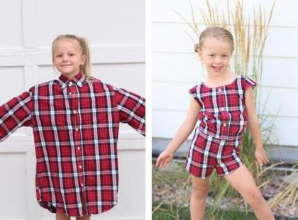 To się nazywa kreatywne DIY! Ta kobieta tworzy piękne ubranka dla dzieci ze... starych koszul!